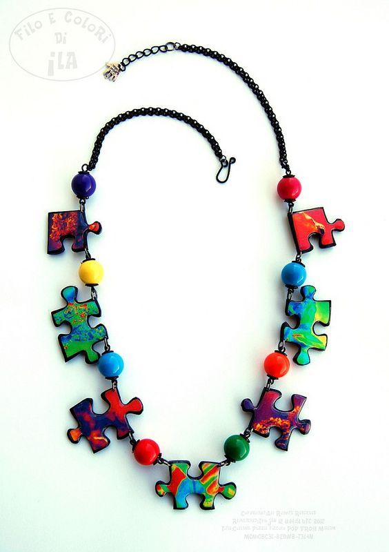 Collana Puzzle piccola POP FROG per Miriam   by Filo e colori di Ila