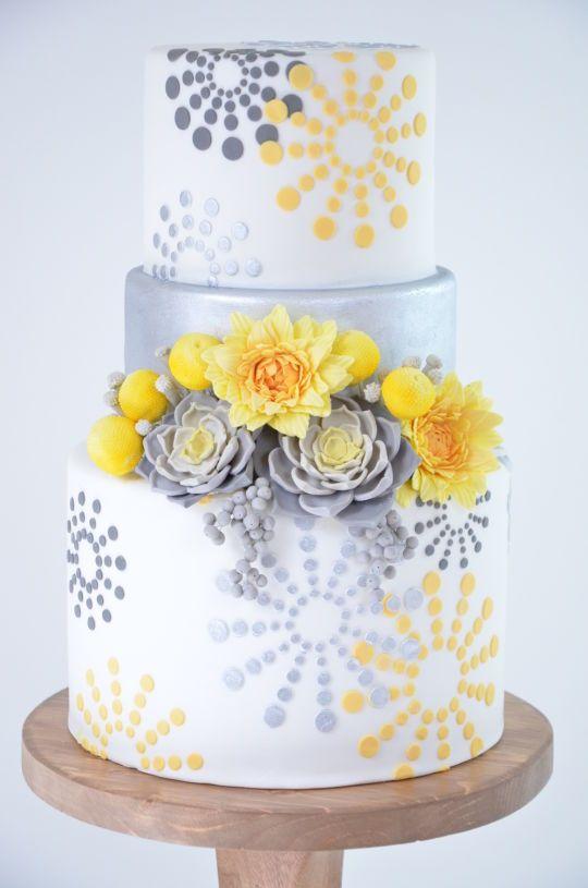 Gray and yellow wedding cake.