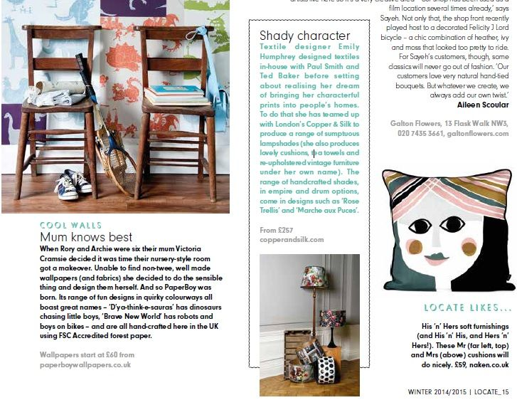Emily Humphrey Lampshade Collection - Locate, The Place, Jan '15