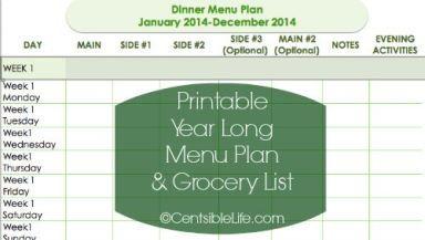 Printable Year Long Menu Plan and Grocery List