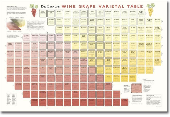 Very helpful.  De Long's Wine Grape Varietal Table: Learn About Wine Grapes The Visual Way