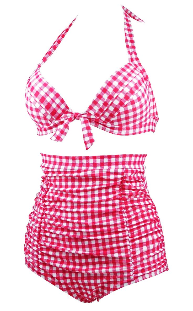 Cocoship 50s Red Gingham Vintage High Waisted Bikini Swimsuits Retro Two Piece Bathing Suit L(FBA)