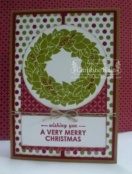 Stamps: Wonderful Wreath, Wishing You (both available 29th August) Card: Baked Brown Sugar, Cherry Cobbler, Whisper White DSP: Season of Style Designer Series Paper (avail. 29th August) Ink: Old Olive, Cherry Cobbler and Crumb Cake stampin' pads, Cherry Cobbler marker Other: Circles framelits, sponge dauber, Linen Thread