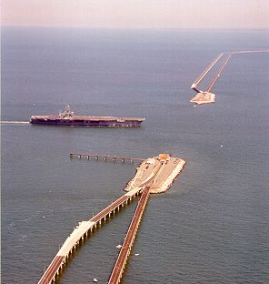 An Aerial view of how the Chesapeake Bay Bridge Tunnel drops below the surface of the water to let ships pass overhead.