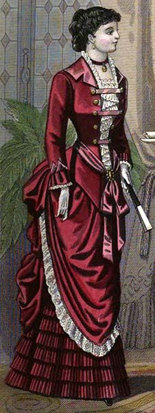 1882 fashion plate dinner gown. That crisscross trim on the bodice would make it very interesting.I'd like it better w/o the white lace on the overskirt tho.