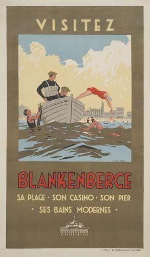 Vintage Travel Poster - Blankenberge - Belgium - by A. van Reck.