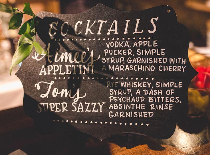 Cocktail sign for Aimee & Tom's glamorous Spring wedding at Houston Station! Joe Hendricks Photography
