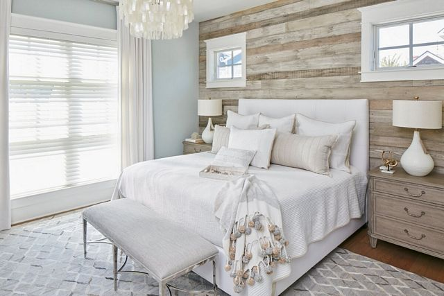 The Master Bedroom Features A Barn Wood Shiplap Accent