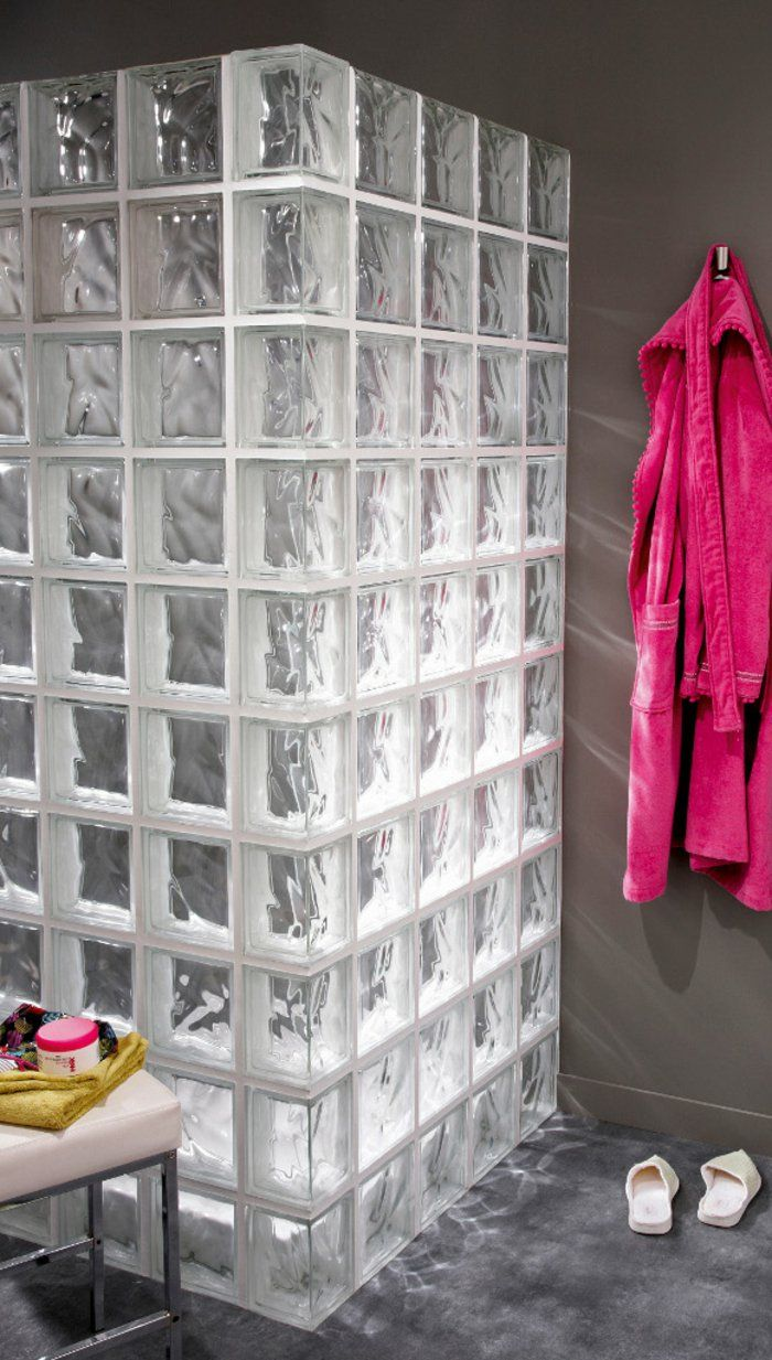 briques de verre, cabine de douche en jolis pavés de verre