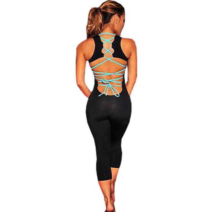 Ucuz spor kombinezonlar kadın 2016 yaz boş Backless skinny seksi tulum bandaj bodysuit dar pantolon eşofman combinaison femme, Satın Kalite kombinezonlar ve tulum doğrudan Çin Tedarikçilerden:   1. 100% yepyeni kadın tulum2. malzeme: polyester pamuk örme bodysuit3. seçim için renk:Siyah tulum/g