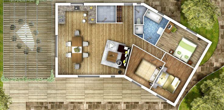 Idée d'aménagement intérieur pour le modèle ANVEY d'AMI BOIS + INFOS: descriptifs, plans, photos de réalisations sur www.ami-bois.fr/