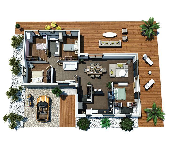 Cette maison moderne plain-pied aux lignes épurées, offre une atmosphère chaleureuse alternant des espaces dédiés à la vie au quotidien mais également à la détente. Attrayante par ses différents espaces de vie et son agencement ouvert sur l'extérieur, cette maison lumineuse, offre un maximum de confort pour profiter de son habitat …