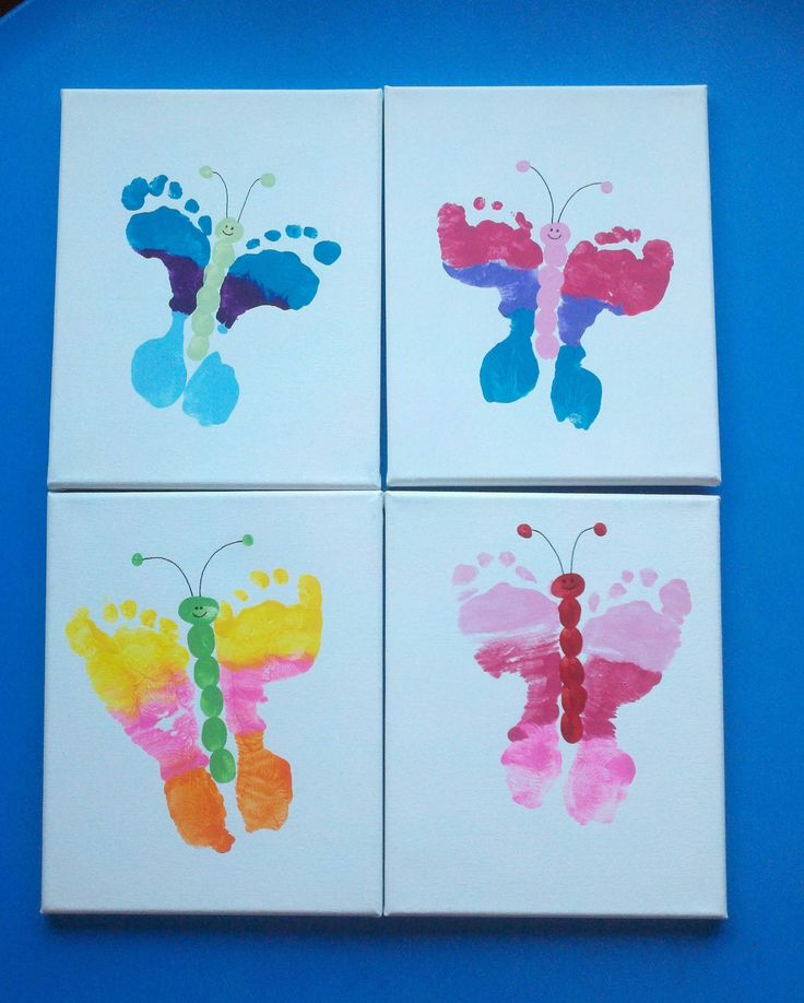 Our preschool mothers day gifts - foot butterfly canvases.