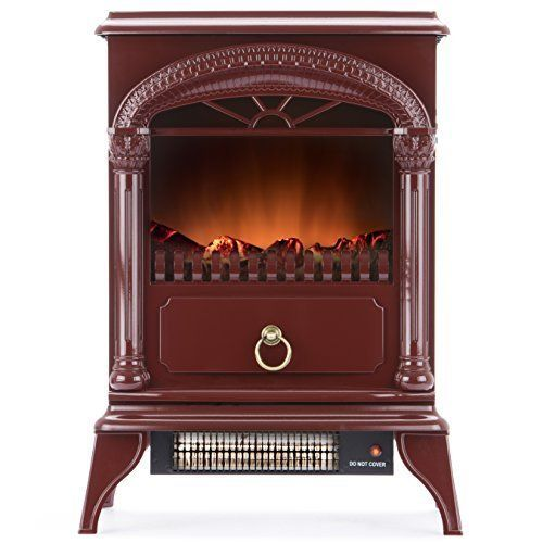 Hamilton Free Standing Electric Fireplace Stove - 22 Inch Red Portable Electric Fireplace with Realistic Fire and Vintage Logs. Adjustable 1500W 400 Square Feet Space Heater Fan, http://www.amazon.com/dp/B014TIJVRQ/ref=cm_sw_r_pi_awdm_xUz2wb0X9BKXF