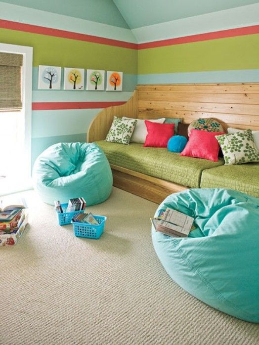 13 Colorful Playroom Ideas-like the curtain idea.  Can be used as a stage and a private reading space.