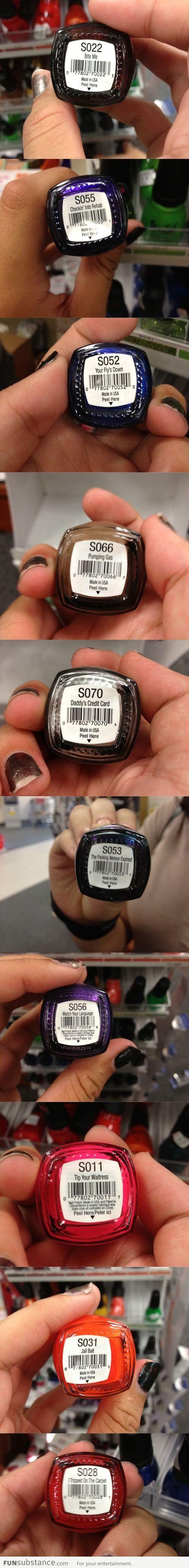9 best Funny nail polish names images on Pinterest   Nail polish ...