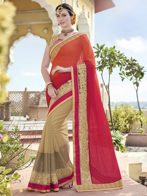 Multicolor embroidered chiffon saree with blouse available at Mirraw.com