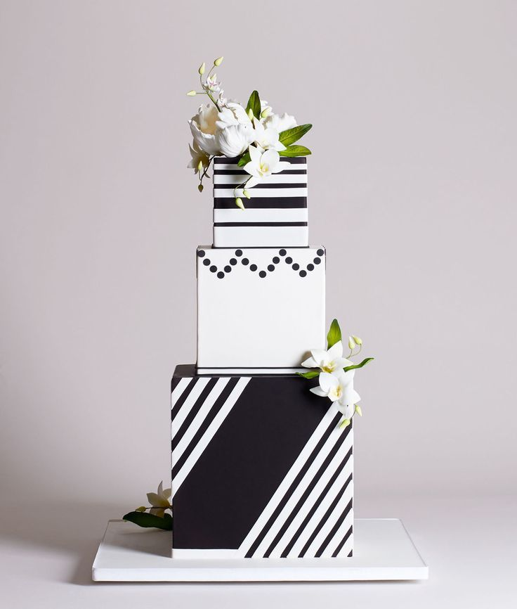 Bottega Louie's Wedding Cake Collection - three-tiered square cube cake in black and white for the modern and minimalistic bride