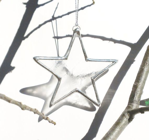Star Christmas Ornament Glass Holiday Home Decor Clear Textured Glass Christmas Star Christmas Decoration Window Decoration Star Ornament  Made with lead-free solder.  Dimensions: Approximately 3  Availability: Only one available. Ready to ship in 1-2 business days. For additional quantities please contact me directly.  Great gift idea!  Description: Each clear glass star Christmas ornament measures about 3 inches and makes a beautiful addition to your Christmas decor. These Christmas stars…