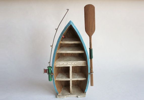 Boat Hull Shelf with Fishing Pole and Oar, Vintage Ceramic Resin Nautical Miniatures Shelves Wall Hanging Decor