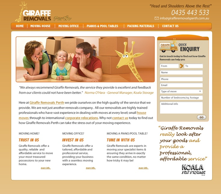 very cool website design for a client of mine down under - check it out at www.girafferemovalsperth.com.au