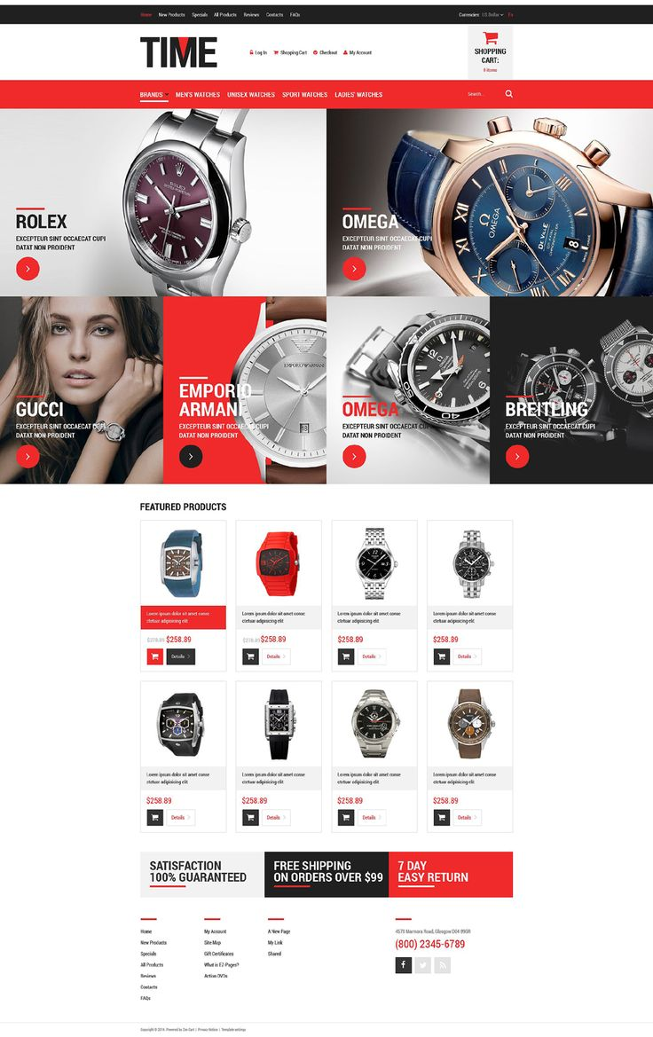 Luxury Watches #ZenCart #Responsive Template via @medosadvert by @templatemonster #52081