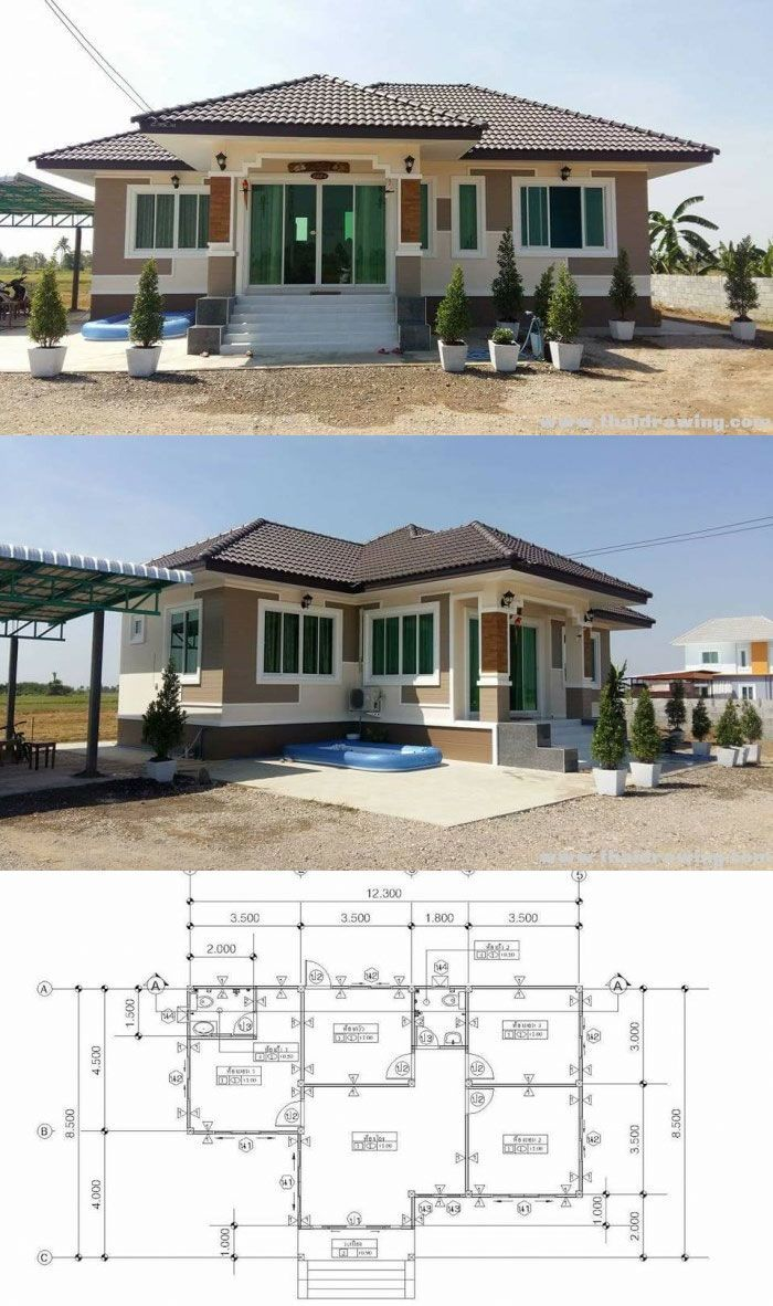 Simple 3 Bedroom Bungalow House With Elevated Floor House Construction Plan Affordable House Plans Bungalow House Plans