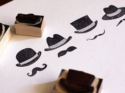 logo stamp set for letterhead and use at the hat shop: Hats, Craft, Mustache Stamps, Idea, Hat Stamp