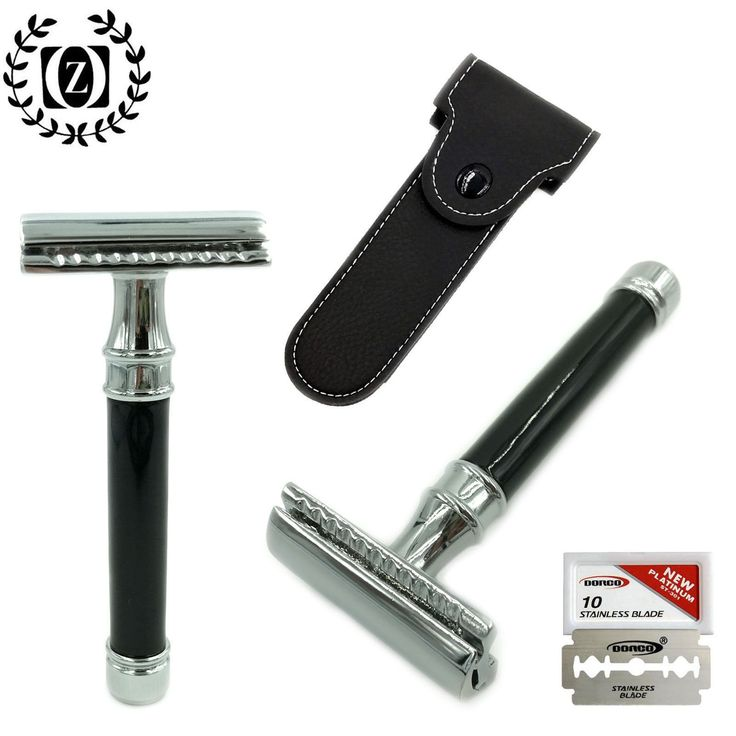 VINTAGE DOUBLE EDGE DE SAFETY RAZOR FOR HIM WITH SHAVING BLADES  CASE POUCH