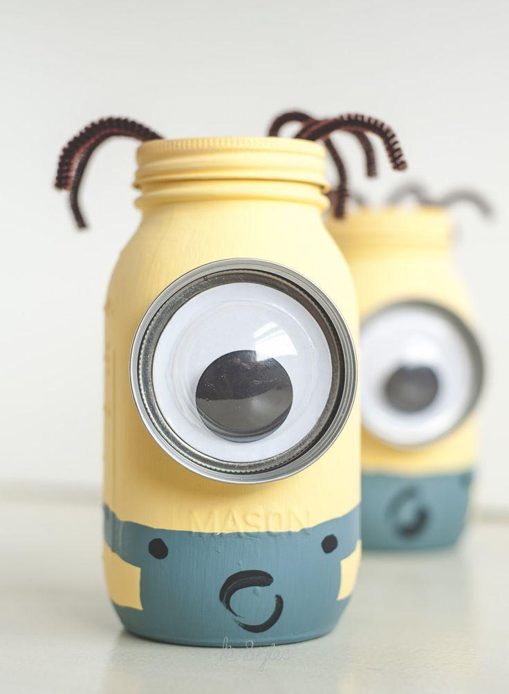 Minion Mason Jar Coin Banks Sprinkled And Painted At Ka Styles Co Mason Jar Decorations Mason Jars Mason Jar Crafts Diy