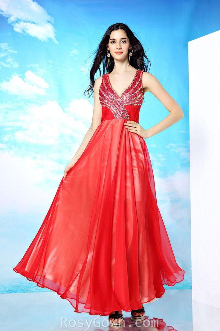 #amazing beaded red #chiffon #sleeveless semi-formal dress
