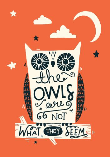 "Twin Peaks Print Series. Available to buy soon. By Steph Baxter / Steph Says Hello ""The Owls Are Not What They Seem"""