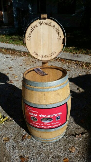 My new retired wine barrel advertising set up ...