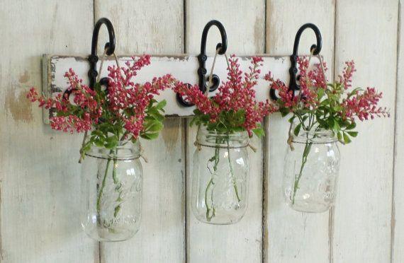 New...Rustic Wood Shelf...Farmhouse Wall Decor...3 Hanging Mason jars..Candle Lantern..Made to order