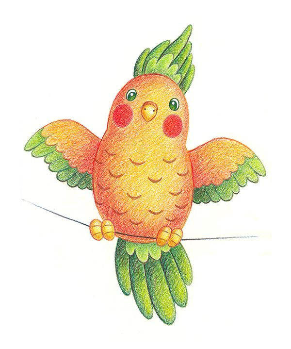 Carrot parrot / Морковный попугайчик  #bird #parrot #carrot #orange #character #illustration