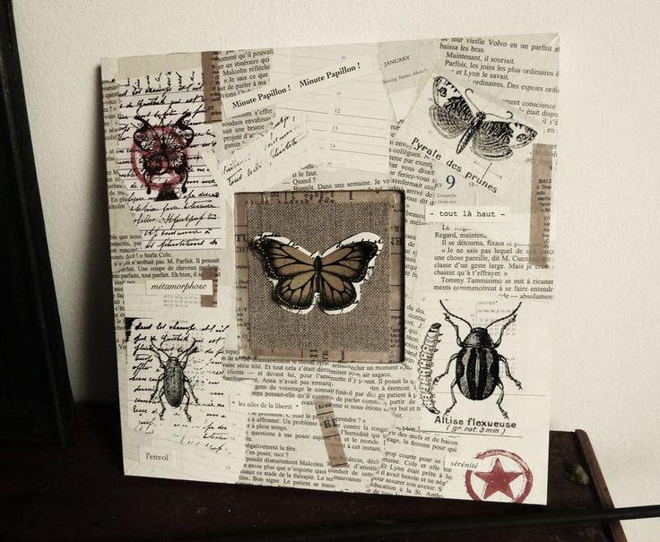 """Composition sur cadre bois """"papillon"""" - Photo de Peinture et cadres - L'Atelier de Drine"""