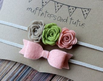 Felt bow headband set  newborn/baby/toddler by muffintopsandtutus
