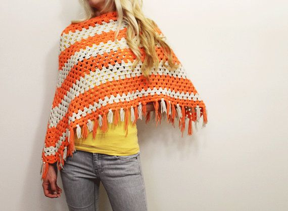Womens Crochet Poncho/ 1970s clothing/ Orange/ by URTHYCHURCHYPPL, $25.00