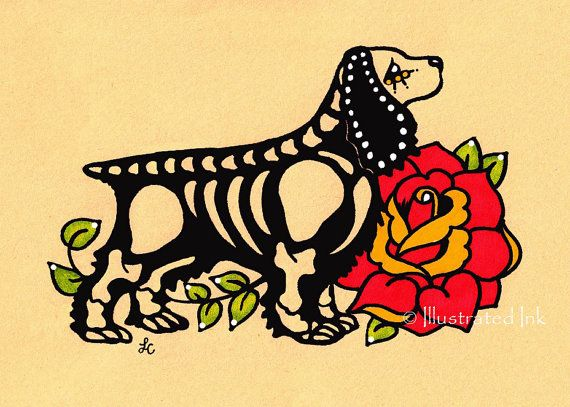 Day of the Dead Dog COCKER SPANIEL Dia de los Muertos Art Print 5 x 7 or 8 x 10 - Choose your own words - Donation to Austin Pets Alive