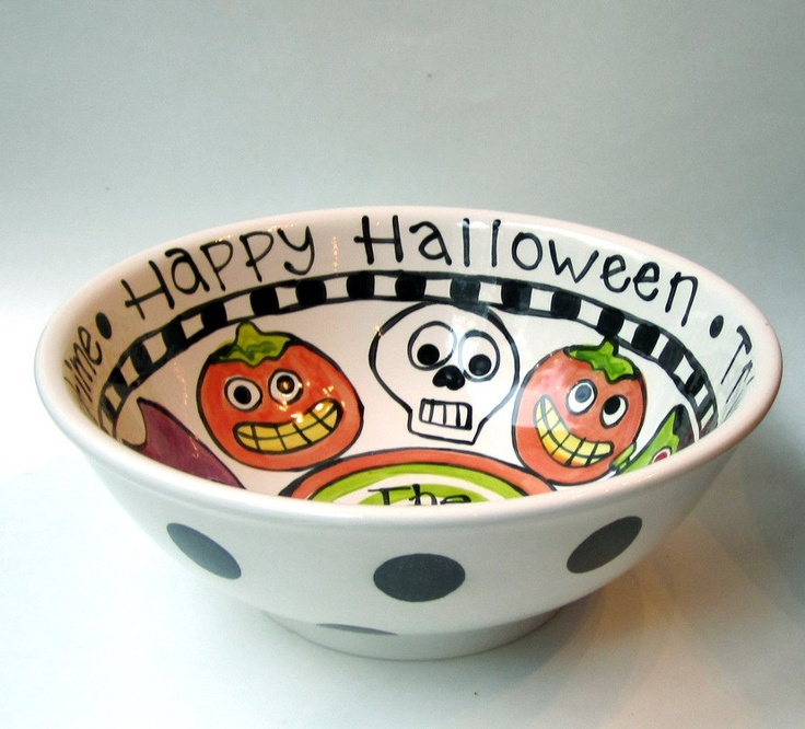 custom designed and made just for you big ceramic candy halloween serving bowl 7000 - Ceramic Halloween Decorations