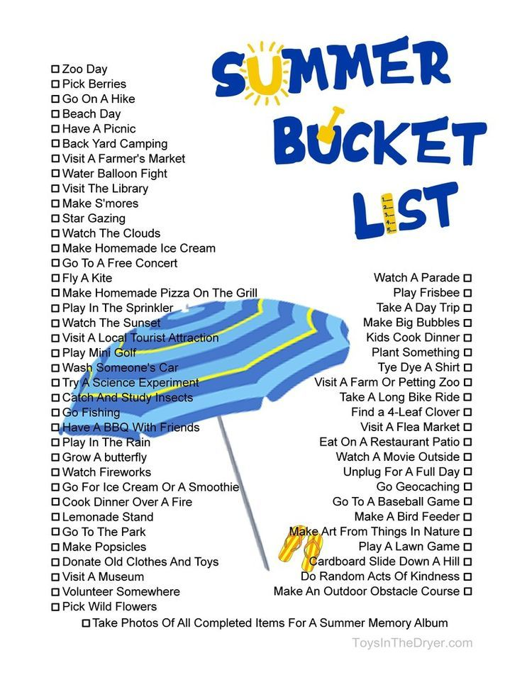 Summer Bucket List For Kids Free Printable