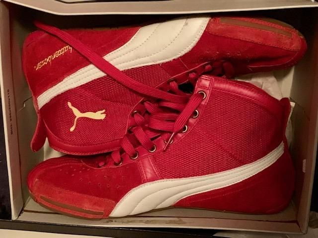 a58aa2a01c27 PUMA Schattenboxen Vintage Boxing Wrestling Shoes High top Men Size 10 red  gold