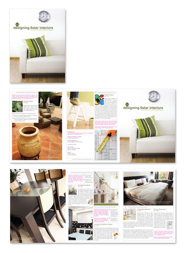 753 best Creative Brochure Templates images on Pinterest - interior design brochure template