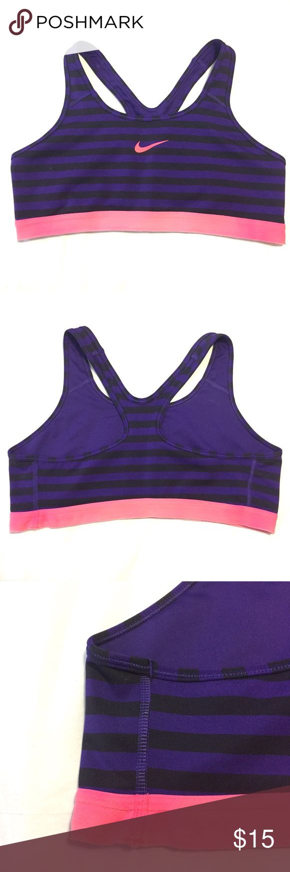 Nike Sports Bra - Purple Striped Gently used medium support purple and black striped sports bra with pink accents. Some wear (shown in photo 3) and fading in the center of the band. Nike Intimates & Sleepwear Bras