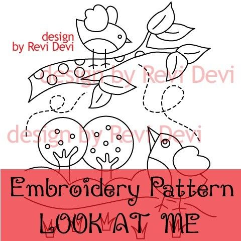 Look At Me 15015 - Cute Embroidery Pattern - PDF download - Whimsical design