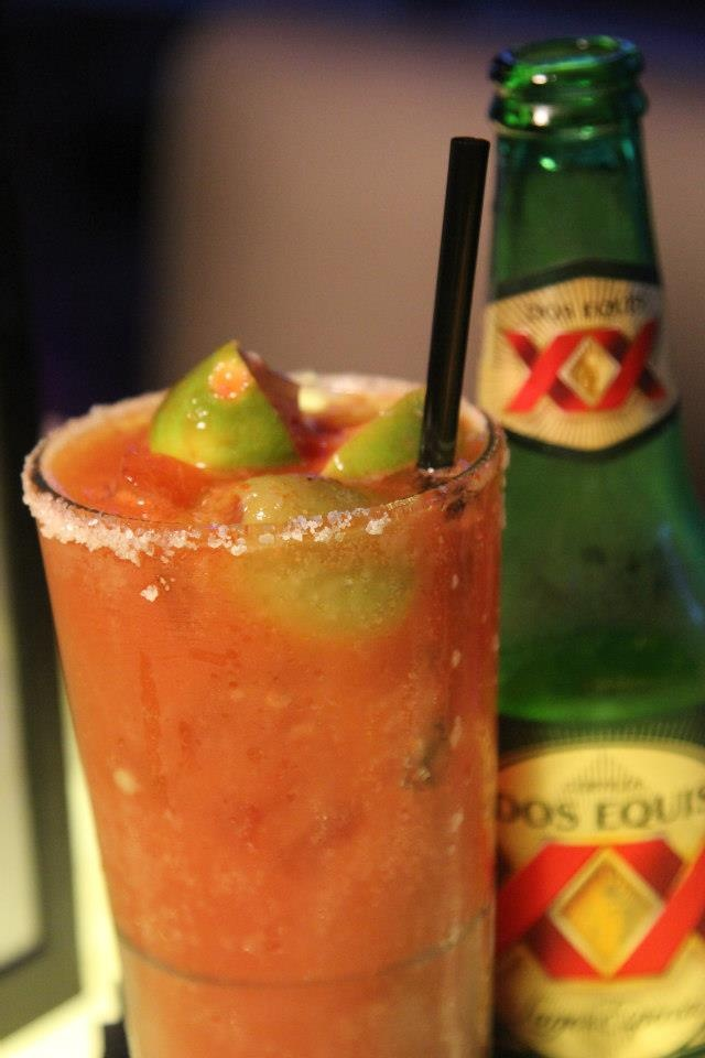 Micheladas-  Your Favorite Mexican Beer, Mixed With Our  Special Michelada Mix, And Garnished With A  Salted Rim And Lime.