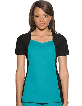 fashion scrub top with soft and stretchy knit side panels and sleeves - so feminine