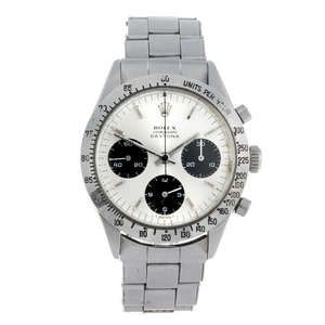 LOT:308 | ROLEX - a gentleman's stainless steel Cosmograph Daytona chronograph bracelet watch.