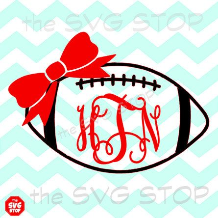 Monogram Football with bow SVG and studio files for by SVGstop