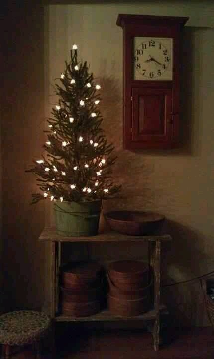 Primitive Christmas...tree in an old bucket. Need to find old buckets and containers for the base of my trees.